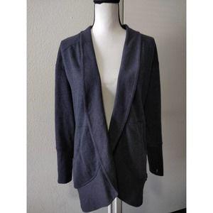 Eddie Bauer Blue Fleece Line Open Front Cardigan S